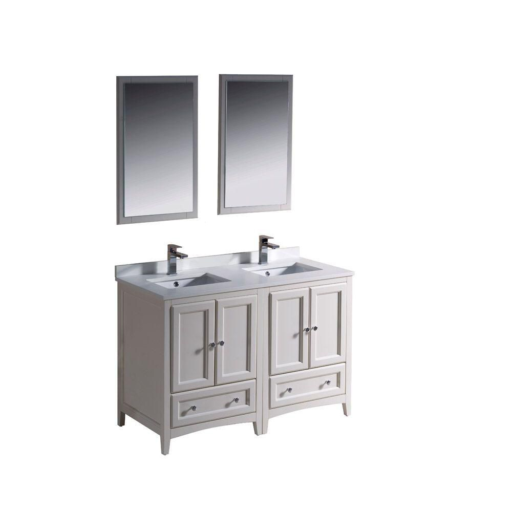 Oxford 48-inch W Double Sink Vanity in Antique White Finish with Mirror