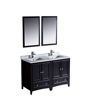 Oxford 48 Inch W 3 Drawer 4 Door Vanity In Black With Quartz Top White Double Basins