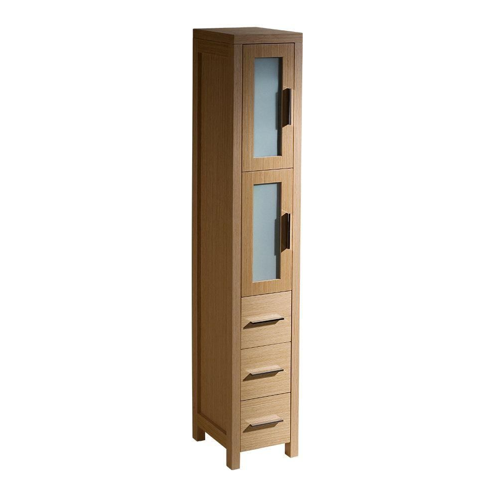 Torino Light Oak Tall Bathroom Linen Side Cabinet FST6260LO Canada Discount