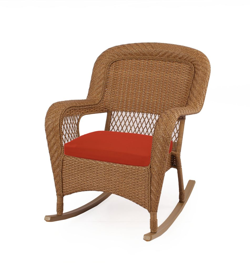 MSL Charlottetown Natural Rocking Chair With Quarry Red Cushions