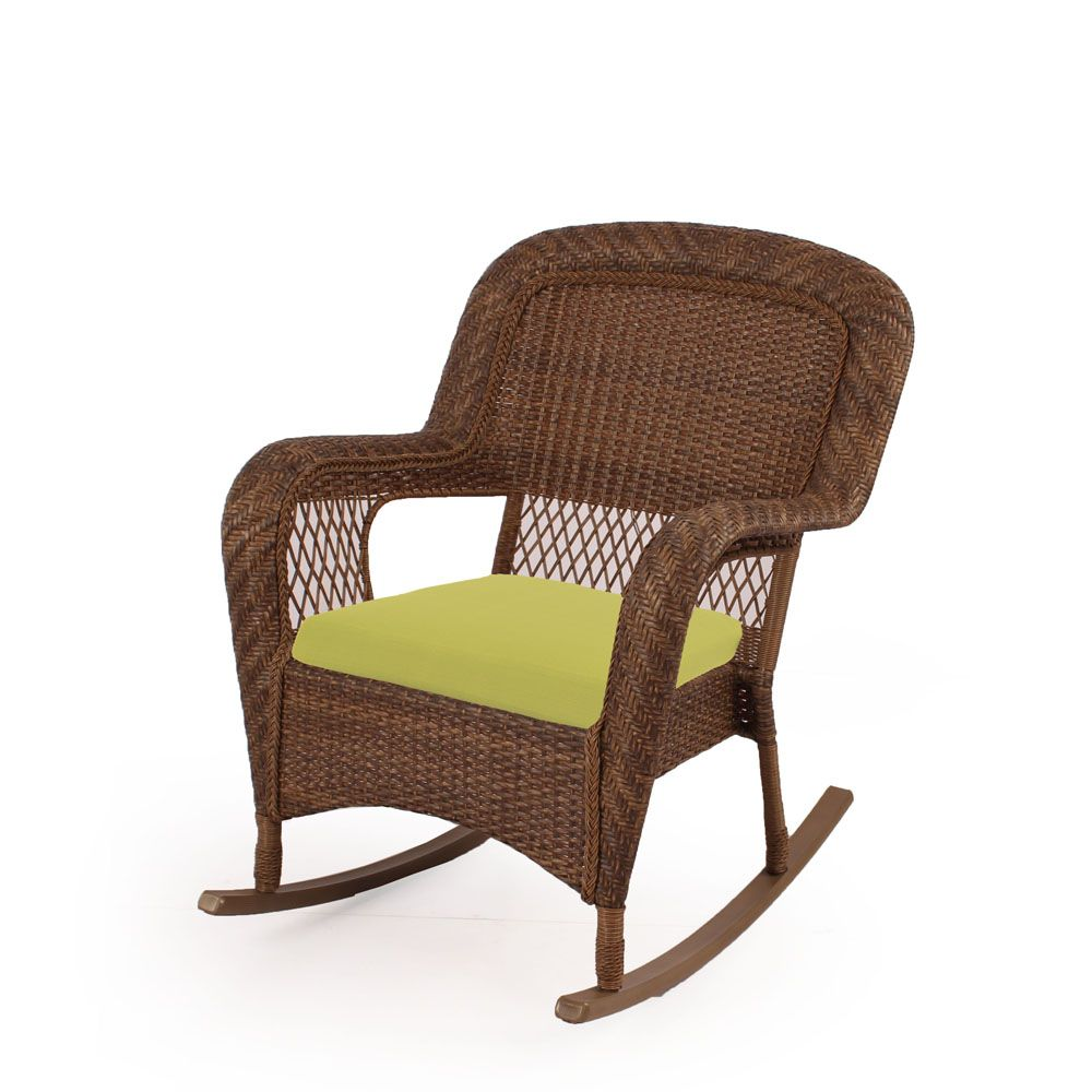 Charlottetown brown rocking chair with green cushions 65 for Petite chaise en osier