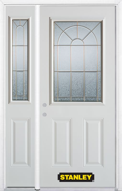 Stanley Doors 48.25 inch x 82.375 inch Elisabeth Brass 1/2 Lite 2-Panel Prefinished White Right-Hand Inswing Steel Prehung Front Door with Sidelite and Brickmould - ENERGY STAR®