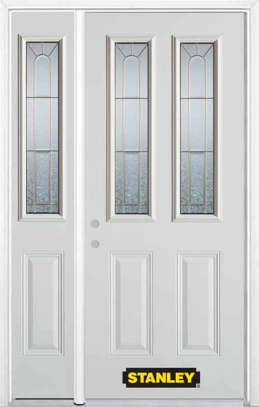 Stanley Doors 52.75 inch x 82.375 inch Elisabeth Brass 2-Lite 2-Panel Prefinished White Right-Hand Inswing Steel Prehung Front Door with Sidelite and Brickmould - ENERGY STAR®