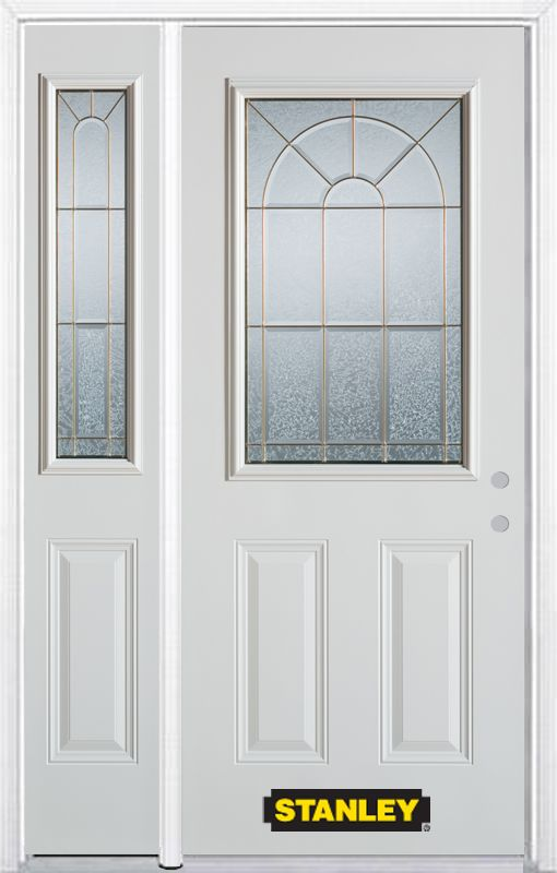 Stanley Doors 50.25 inch x 82.375 inch Elisabeth Brass 1/2 Lite 2-Panel Prefinished White Left-Hand Inswing Steel Prehung Front Door with Sidelite and Brickmould