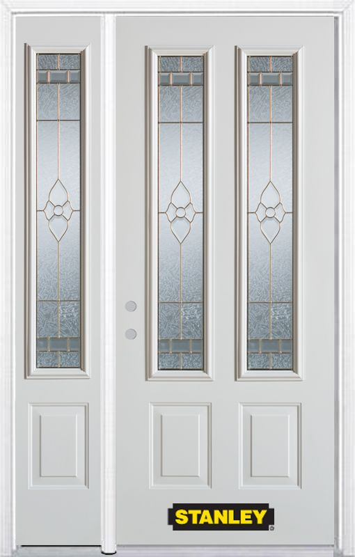 Porte dentrée en acier préfini blanc, munie de deux panneaux et de deux verre, 70 po x 82 po avec...