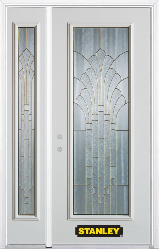 48-inch x 82-inch Gladis Full Lite White Steel Entry Door with Sidelite and Brickmould