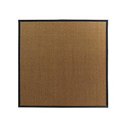 Lanart Rug Carpette d'intérieur, 5 pi. x 5 pi. tissage texturé, rectangulaire, sisal naturel, noir