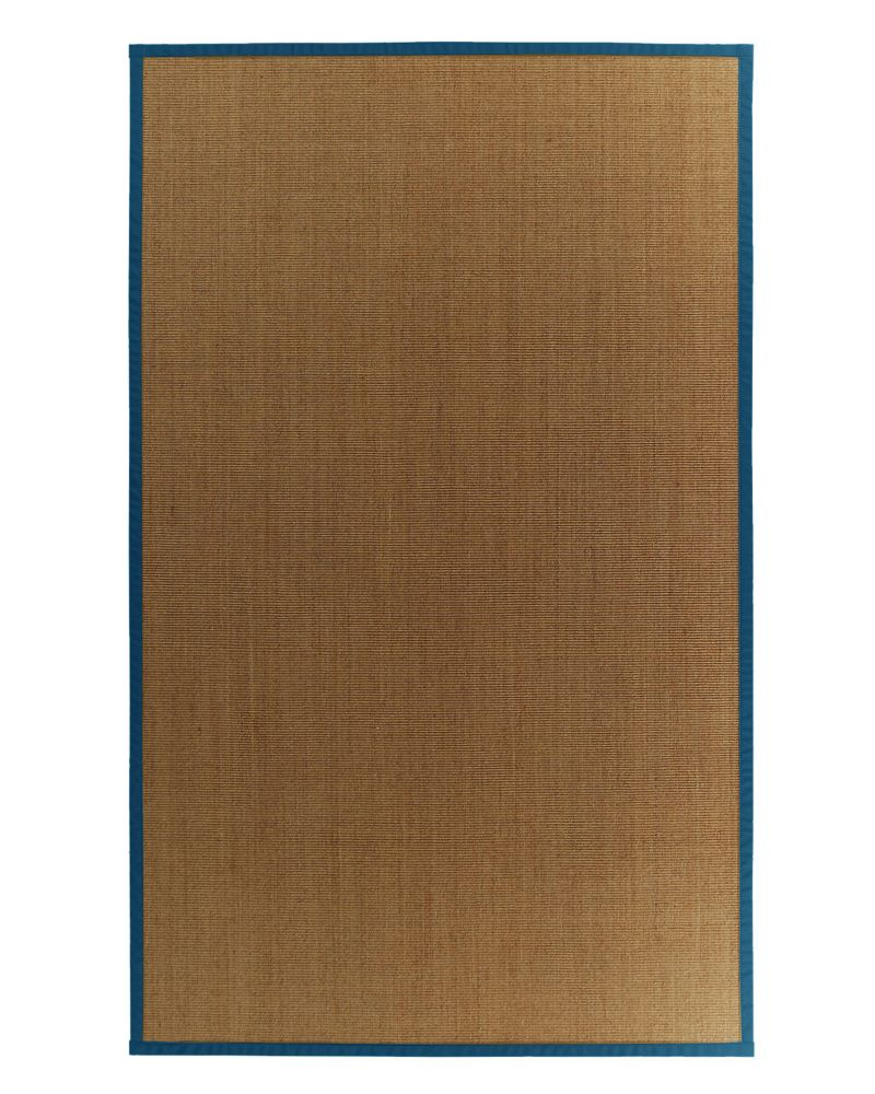 Natural Sisal Bound Blue #38 4 Ft. x 6 Ft. Area Rug