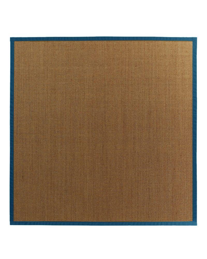 Tapis Sisal Naturel Bordure Bleu #38 8 Pi. x 8 Pi.