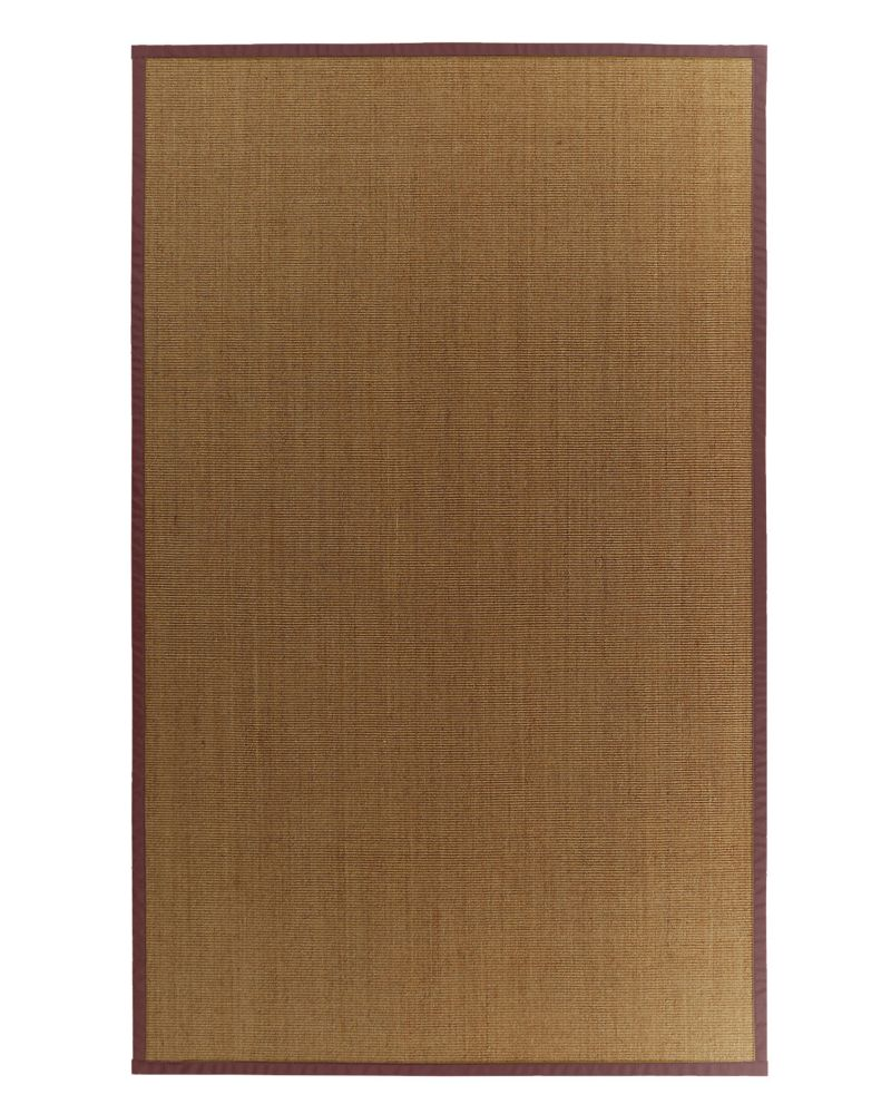 Tapis Sisal Naturel Bordure Bourgogne #34 4 Pi. x 6 Pi.