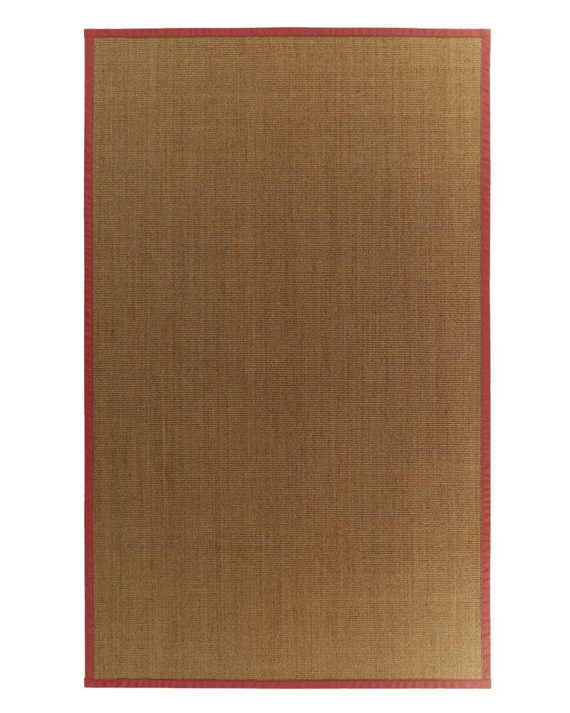 Tapis Sisal Naturel Bordure Rouge #61 4 Pi. x 6 Pi.