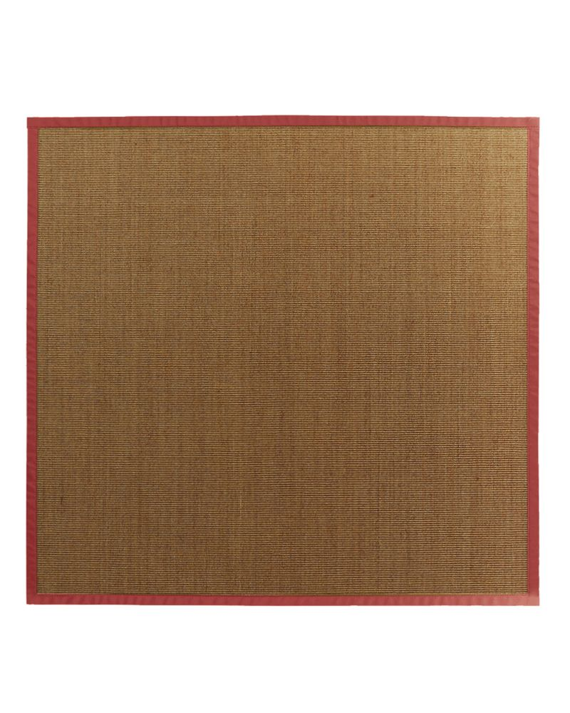Natural Sisal Bound Red #61 5 Ft. x 5 Ft. Area Rug