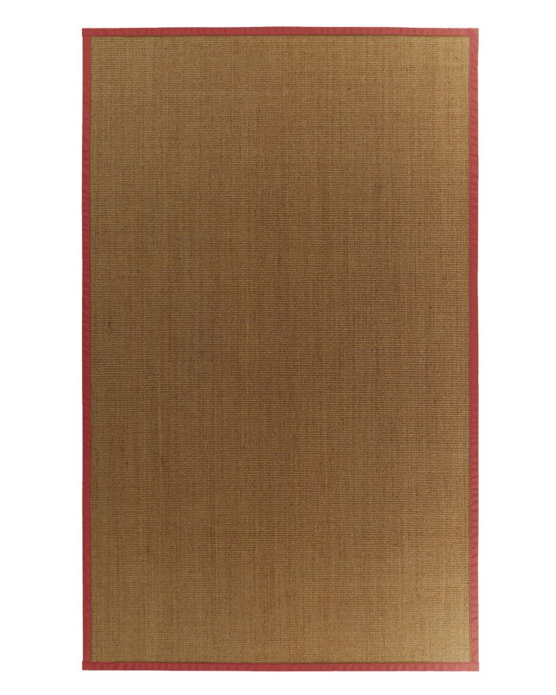 Natural Sisal Bound Red #61 6 Ft. x 9 Ft. Area Rug