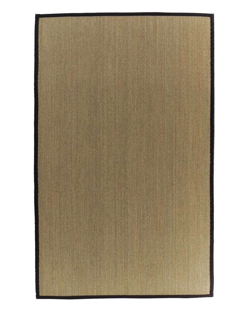 Natural Seagrass Bound Black #35 4 Ft. x 6 Ft. Area Rug