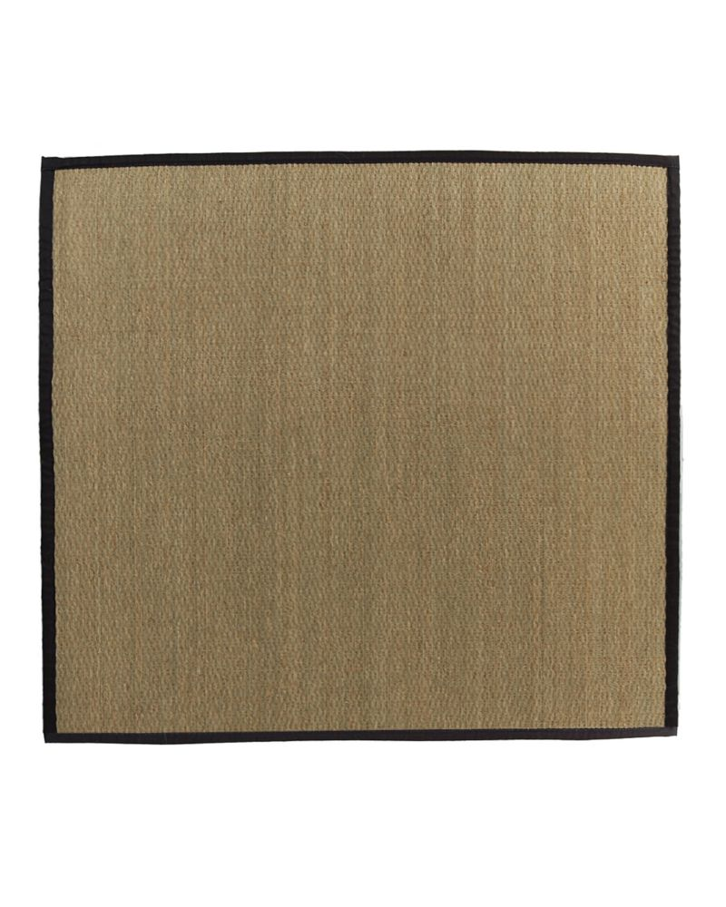 Natural Seagrass Bound Black #35 5 Ft. x 5 Ft. Area Rug