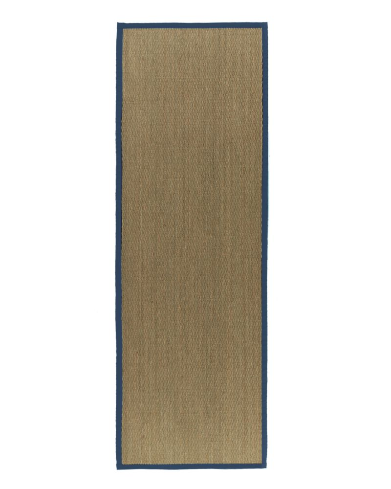 Natural Seagrass Bound Blue #38 2 Ft. 6 In. x 8 Ft. Area Rug
