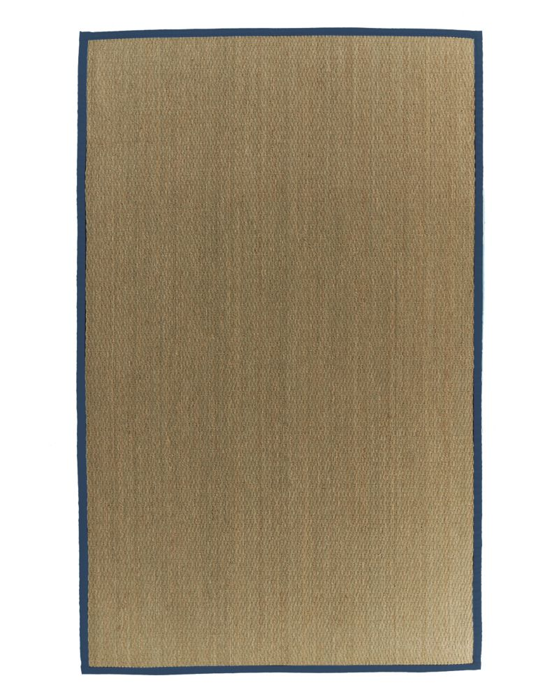 Natural Seagrass Bound Blue #38 4 Ft. x 6 Ft. Area Rug