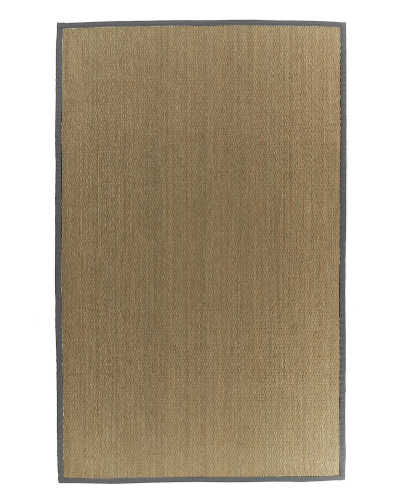 Natural Seagrass Bound Burgundy #34 4 Ft. x 6 Ft. Area Rug