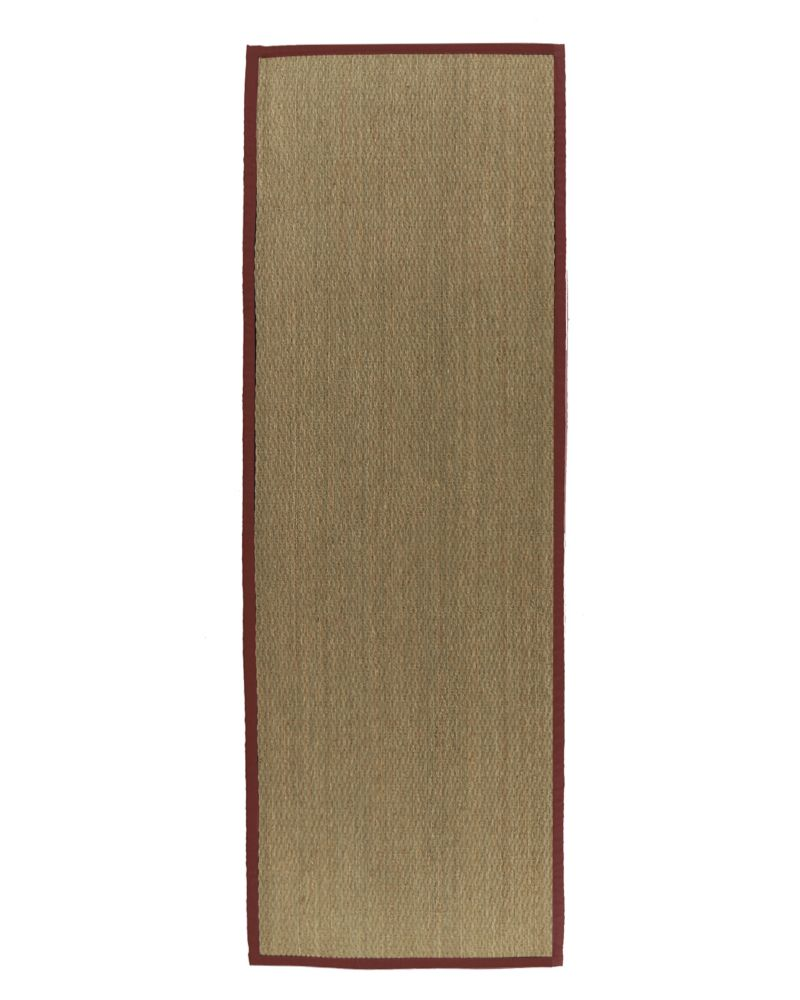 Natural Seagrass Bound Red #61 2 Ft. 6 In. x 8 Ft. Area Rug