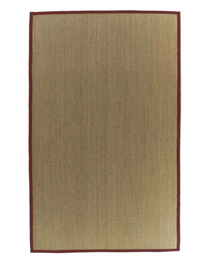 Natural Seagrass Bound Red #61 4 Ft. x 6 Ft. Area Rug