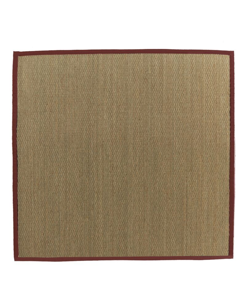 Natural Seagrass Bound Red #61 5 Ft. x 5 Ft. Area Rug