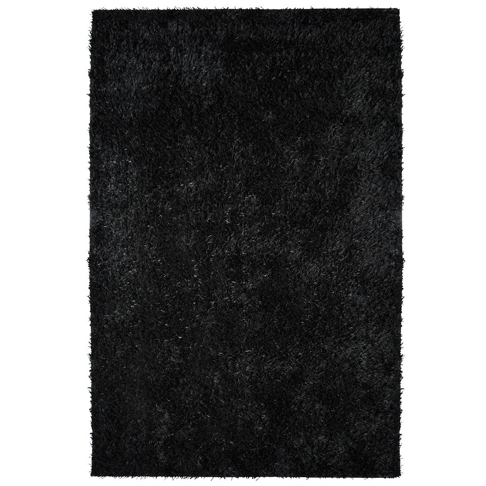 Lanart Rug City Sheen Black 8 ft. x 10 ft. Indoor Shag Rectangular Area Rug