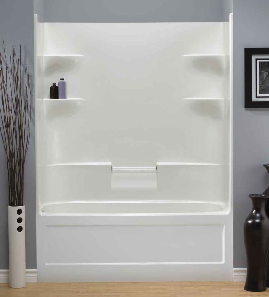 Mirolin Belaire 60 Inch X 78 32 5 4 Shelf Acrylic 1 Piece Right Hand Drain Tub Shower The Home Depot Canada