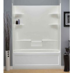 "Mirolin Belaire 32.5-inch D x 60-inch W x 78"" H 4-shelf Acrylic 1-Piece Hand Drain Tub & Shower in White"