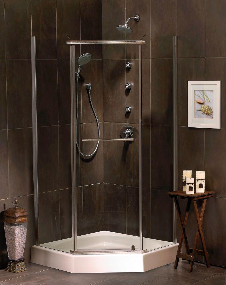 Sorrento 38 Inch Acrylic Neo-Angle Shower Door & Base