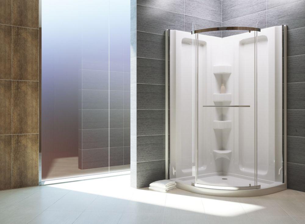 Sorrento - Ensemble de douche en acrylique à devant arrondi - 38 pouces