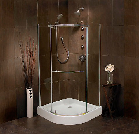 Mirolin Sorrento 38 Inch Acrylic Round Front Shower Door & Base ...