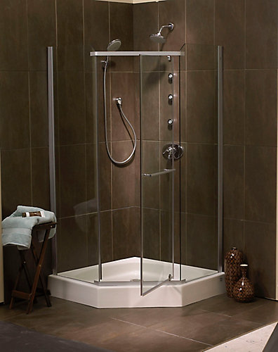 Mirolin Sorrento 42 Inch Acrylic Frameless Neo-Angle Shower Door ...