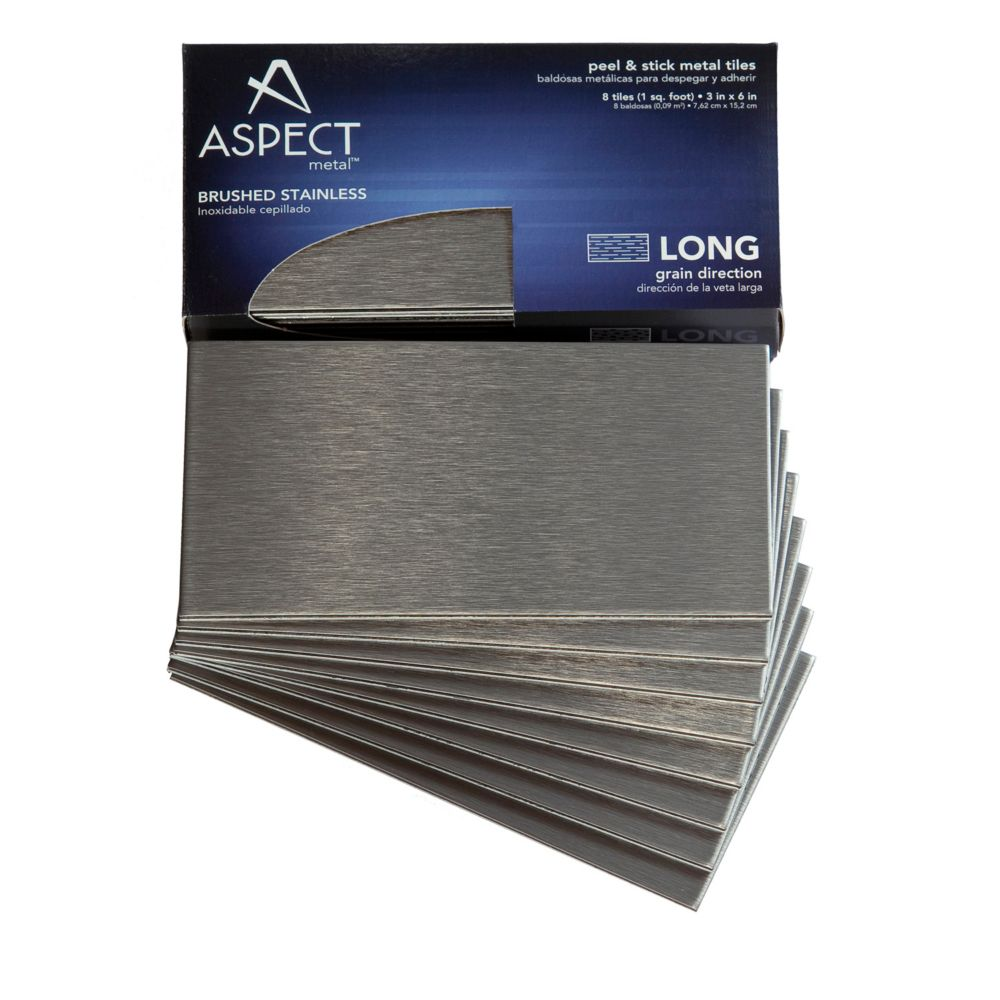 3 In. x 6 In. Brushed Stainless Long Grain, 8 Pieces