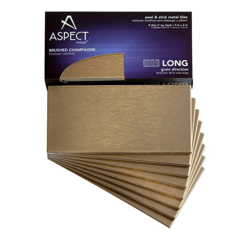 3 In. x 6 In. Brushed Champagne Long Grain, 8 Pieces