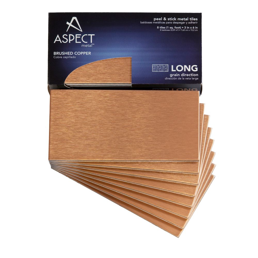3 In. x 6 In. Brushed Copper Long Grain, 8 Pieces