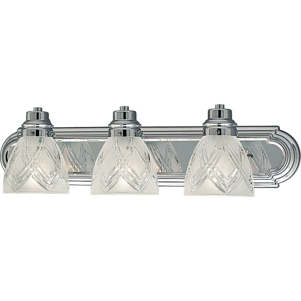 Crystal Cut Glass Collection Three-Light Wall Bracket in Chrome