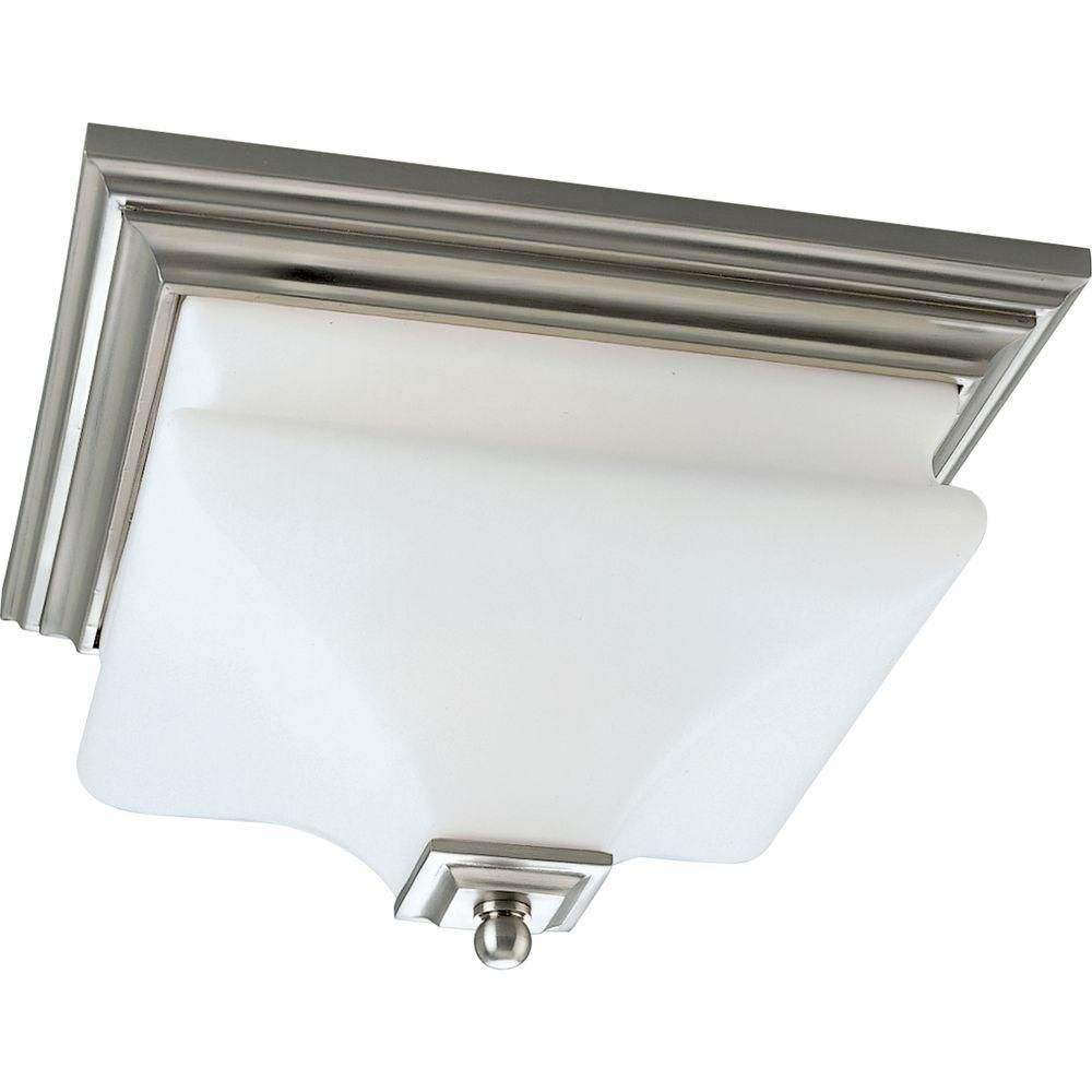 Bratenahl Collection Brushed Nickel Two-Light Close-to-Ceiling