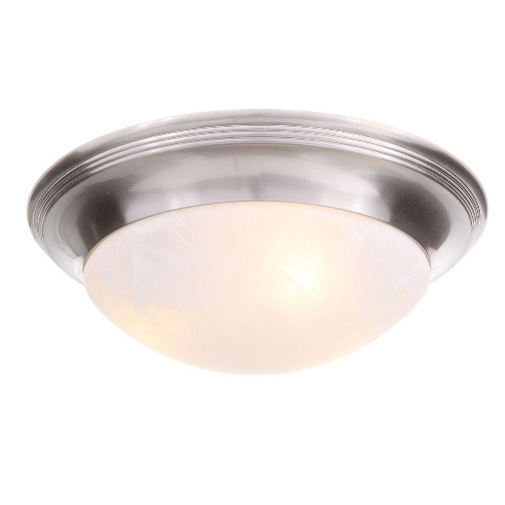 Brushed Nickel Three-Light Close-to-Ceiling