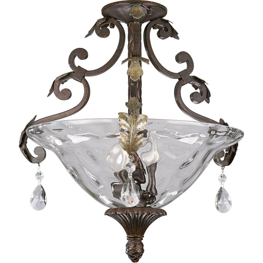 Savona Collection Cognac Three-Light Close-to-Ceiling