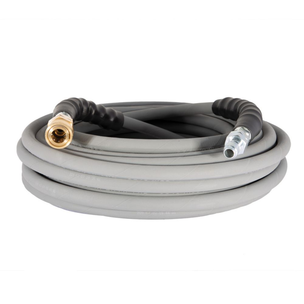 BE 50 ft. 4000 PSI Non-Marking High Pressure Hose with Quick Connect Fittings in Grey