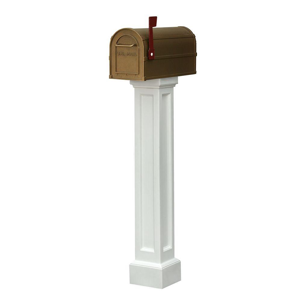 Mayne Bradford Mailbox Post in White