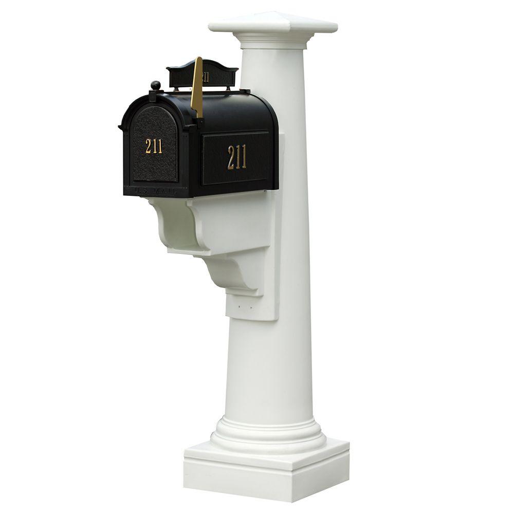Statesville Mailbox Post in White