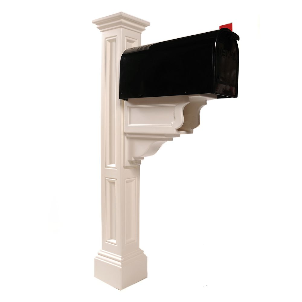 Charleston Plus Mailbox Post in White
