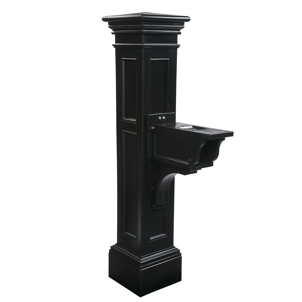 """Mayne Liberty Lamp Post in Black Including 89"""" Aluminum Ground Mount"""