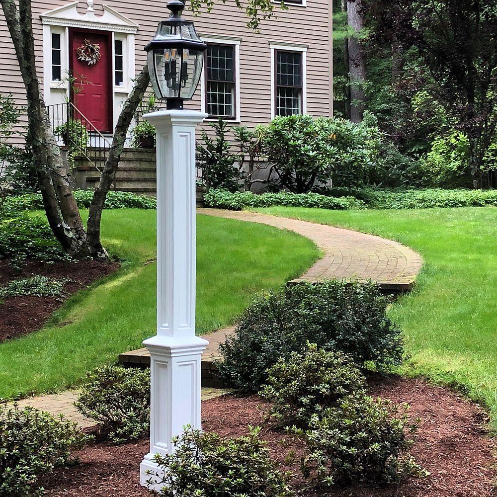 """Signature Lamp Post in White Including 89"""" Aluminum Ground Mount"""