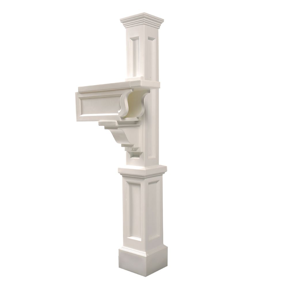 Rockport Single Mailbox Post in White