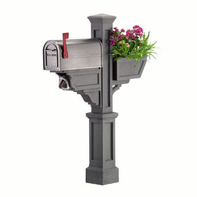 Signature Plus Mailbox Post (Granite) - New England styled mailbox post with planter & paper hold...