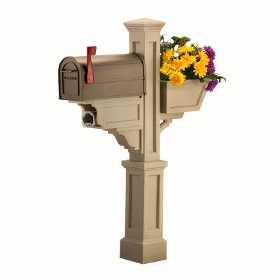 Signature Plus Mailbox Post (Clay) - New England styled mailbox post with planter & paper holder