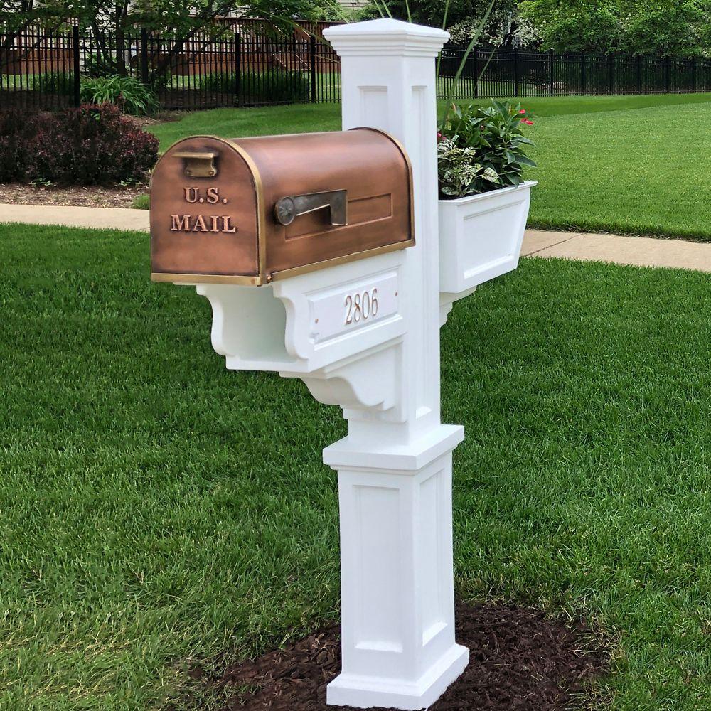 Poteau de boîte aux lettres Signature Plus (blanc) Nouvelle-Angleterre, boîte à fleurs, journal