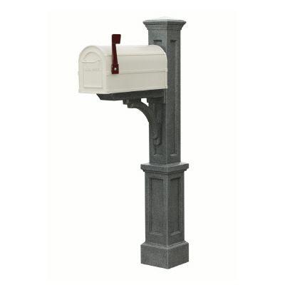 Poteau de boîte aux lettres Newport Plus (granite) style Nouvelle-Angleterre